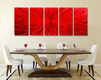 Huge Contemporary Metal Wall Sculpture, Multi Panel Modern Metal Wall Art in Red, Abstract Metal Painting - Intensity 5 XL by Jon Allen