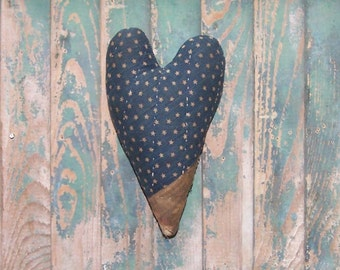 Antique Quilt Heart, Primitive Heart, Farmhouse Decor, Stuffed Heart, Rustic Country, Americana Primitive, Blue White Stars - READY TO SHIP