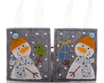 2 Felt Christmas Ornaments, Embroidered Felt Snowman Set, Advent Calendar Gifts, Stocking Stuffers, Felt Bird, Felt Christmas Tree Decor