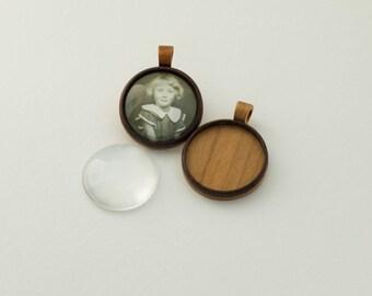 NO laser woodcraft pendant blanks - Walnut and cherry - 30 mm Cavity - (Z30c-WC) - Organic Bail - Set of 2