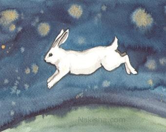 Leap - Fine Art Rabbit Print - Bunny Art