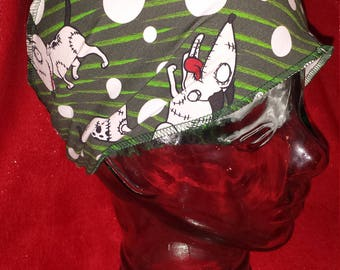 Sparky Frankenweenie Custom Print Cotton/Lycra Stretch Knit Scrunchy Wide Headband