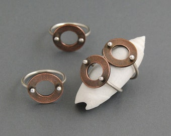 SALE!  50% off Copper Button Ring size 9