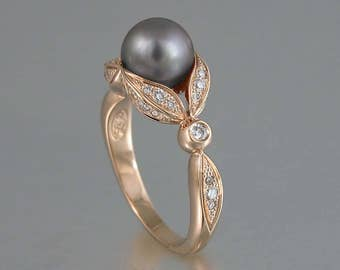 NEW - AURORA 14K gold ring with diamonds and Gray Freshwater Pearl