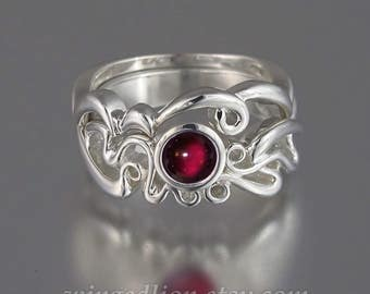 ODELIA sterling silver ring with Garnet cabochon & wedding band Art Nouveau inspired ring set