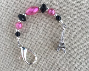 PARIS scissors fob with Eiffel Tower charm hot pink and black glass beads