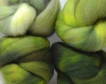 NEW Hand Dyed Gradient Fiber Set - American Targhee Combed Top in Mossy Semi Solid 2 ounces - Play With Your Fiber!