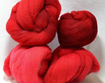 NEW Hand Dyed Gradient Fiber Set - American Targhee Combed Top in Chili Pepper Semi Solid 2 ounces - Play With Your Fiber!