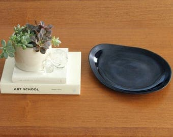 Contemporary Ceramic Platter Black, Porcelain Serving Dish Oval