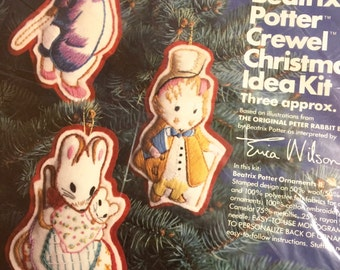 BEATRIX POTTER Crewel Christmas Ornament Kit Peter Rabbit Erica Wilson Vintage 7882