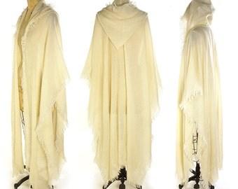 RARE 70s Giorgio Saint'Angelo Hooded Wrap Vintage Designer Creme Handwoven Long Poncho Ethnic Hippie Boho Bohemian Artsy Textile Artsy Cape