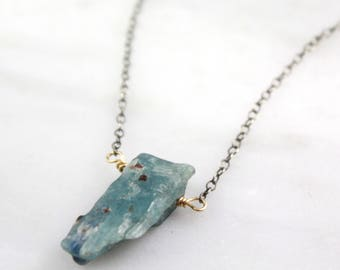 Raw Kyanite Gold and Silver Necklace