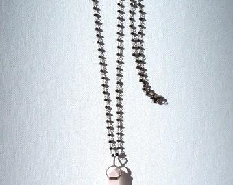 Rose Quartz Crystal & Black Spinel Necklace