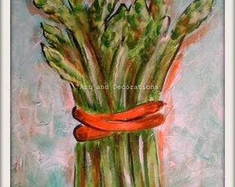 Asparagus painting Print, Vegetable print kitchen wall art, contemporary kitchen art