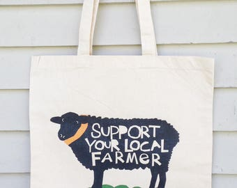 Canvas tote bag Support your local farmer hand drawn typography sheep