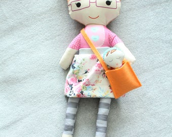 Stuffed Doll pigtails glasses skirt bag baby rag doll doll young girl birthday gift blond pink floral skirt stripe leggings cloth fabric
