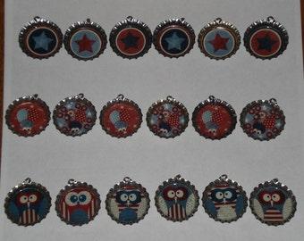 Set of 6 - Patriotic Owls Ladybugs Stars July 4 USA Americana Silver Bottle Cap Charms Mini Tree Ornaments Zipper Pulls Party Favors Jewelry