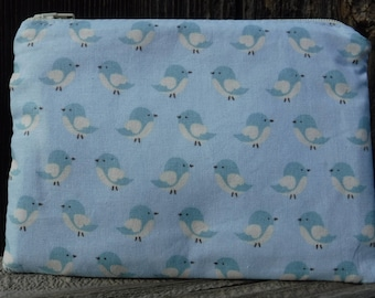 Blue Bird Zippered Tampon Pouch, Blue Cream Tampon Case, Toiletry, Feminine Products, Sanitary Napkin Holder, Maxi Pad Holder, Tampon Holder