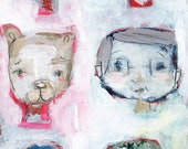 Face demo tag - 4x8 original art tag by Mindy Lacefield