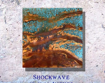 "Art Painting Copper Art Abstract Patina Painting ""Shockwave"" 10 x 10"" Metal Wall Art"