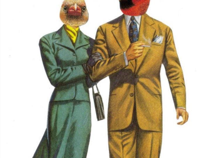 Cute Cardinal Couple Artwork, Red Cardinal Art Collage