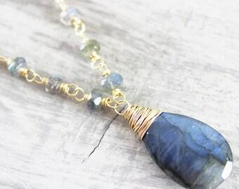 Labradorite Gold Necklace, Gold Filled Necklace, Labradorite Gemstone Necklace, Wire Wrap Necklace, Teardrop Pendant Necklace