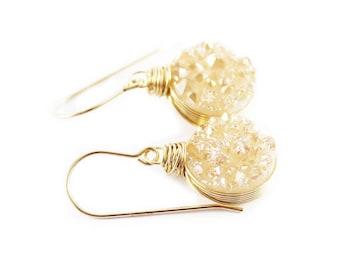 Gold Druzy Earrings, Druzy Dangle Earrings, Champagne Drusy Earrings, Bridesmaid Jewelry, Light Peach Earrings, Druzy Gemstone Earrings