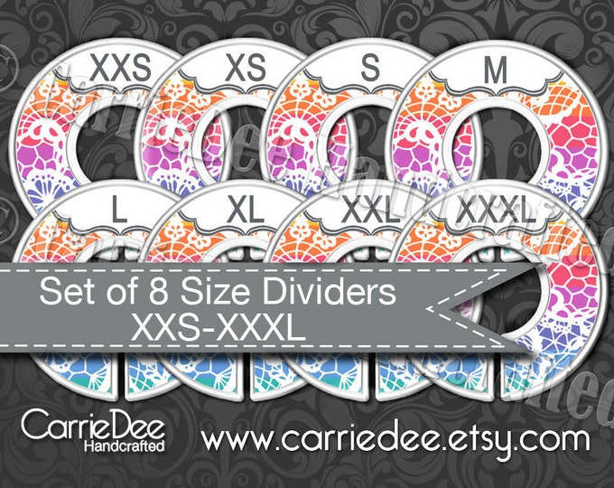 Clothing Size Dividers, Consultant Stylist Tools, Size Divider Set, Rainbow Lace Design, Size Cards