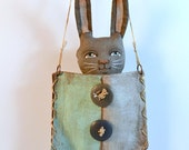 Pocket Bunny Gray Rabbit with Aqua Blue Purse Original Hand Painted Folk Art Doll Sculpture OOAK