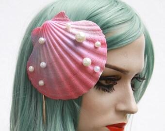 Pink Mermaid oyster shell fascinator hair slide