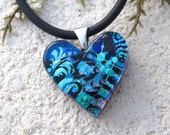 Petite Blue Heart, Dichroic Jewelry, Silver Necklace,Dichroic  Heart Pendant, Blue Heart Jewelry, Fused Glass Jewelry Contemporary, 122816p2