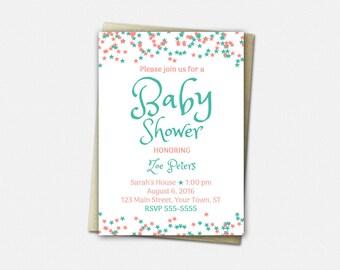 Baby Shower Invitations, Baby Shower Invitation Girl, Baby Shower Invitation Boy, A Star is Born, 50 Color Choices, Baby Shower Invitation