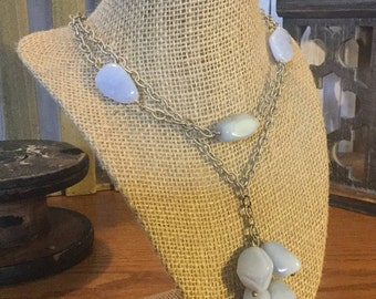 2 Strand Sterling Silver Chain Necklace  with Blue Lace Agate Stones by Swirly Girls Design