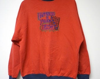 "Happiness is Yelling BINGO! . Candy Early Originals red and blue embroidered sweater .  fits a large to xl . 49"" bust"