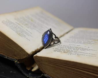 Gothic Marquise Cut Labradorite Hand Cut Sterling Silver Sheild Ring