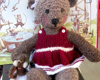 Stuffed Animal, Hand Knit Teddy Bear With Felted Flower; Hand Knit Christmas Gift/ Bear Hugs From Molly