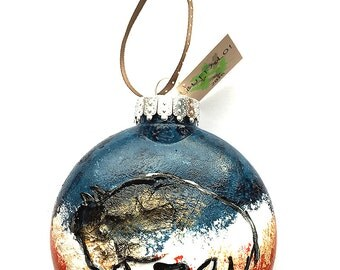 Red White and Blue Buffalo Ornament - Bison Ornament - Hand Painted Buffalo Ornament - Buffalo NY - Buffalo Gift - Buffalo Bills Colors