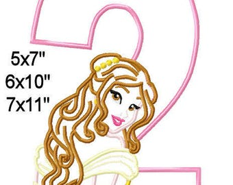 BeIIe Princess Birthday 2 Machine Applique Embroidery Pattern Design 5x7 6x10 7x11 INSTANT DOWNLOAD