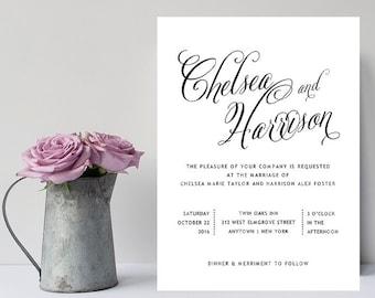 Black and White Wedding Invitation - Formal, Simple, Traditional Wedding Invitations - Black White Wedding Invitations - Wedding Invitation
