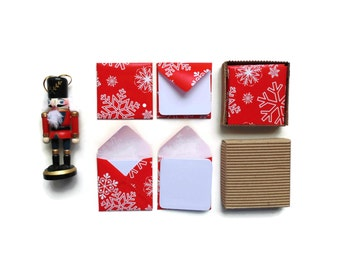 Christmas Snowflakes Small Envelopes Stationery Set Blank Note Cards White Red Merry Christmas Square Gift Tags Greeting, Gifts Under 10