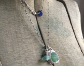 Green Rhode Island Ribbed Seaglass Beach Lake Erie Aqua Blue Beach Glass Bezel Set Charm Necklace Sterling Silver 35 Inch Oblong Cable Chain