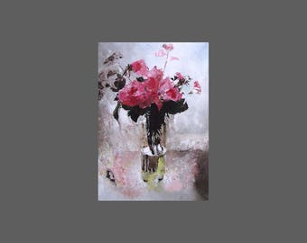 Roses in a Tall Jar, pink flowers, floral wall art, small fine art print from original oil painting, A6 to A3 size