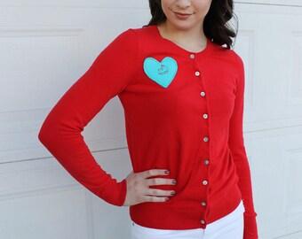M Red DINOSAUR Sweater. Dinosaur Embroidery.  Diy Red Sweater. Red Dinosaur Sweater. Red diy Dinosaur Sweater. Stegosaurus sweater. Heart