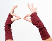 Crimson red arm warmers, Dark red fingerless gloves, Jersey fingerless gloves, Jersey wristwarmers, Dark red fingerless armwarmers, MALAM