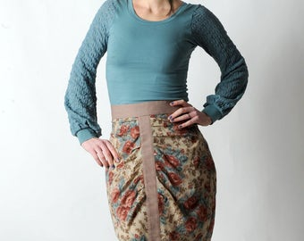 Floral pencil skirt, High waisted beige blue red floral skirt, Womens floral pleated skirt, Womens clothing, Womens skirts, MALAM