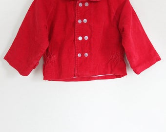 Vintage Baby Jacket / Vintage Red Baby Jacket / Vintage Baby Corduroy Jacket / Size 9 months