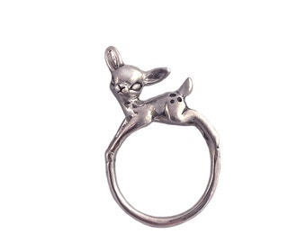 Deer Ring      cute adorable jewelry kawaii bambi silver gold small standing