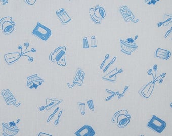 Retro novelty fabric Cafe Bakery food fabric sheer 80s fabric voile