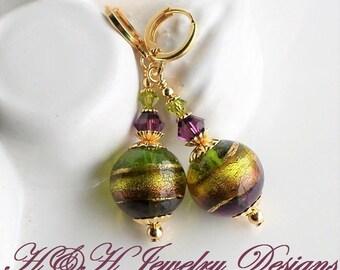 Murano Glass Earrings, Purple Green Murano Venetian Earrings, Purple Glass Earrings, Green Gold Glass Earrings, Gold Foil Murano Jewelry