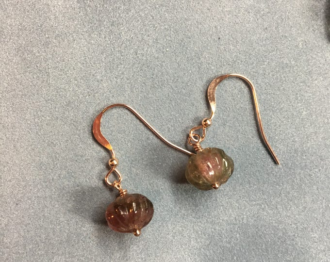 Watermelon Tourmaline Pumpkin Earrings in Rose Gold